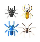 Spiders isolated vector icons set Stock Illustration