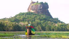 Elephant spraying water with trunk, Lion Rock Fortress behind Stock Footage