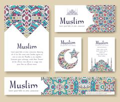 Set of Turkish flyer page ornament illustration concept. Art traditional, Islam - stock illustration