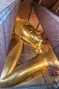 Reclining Buddha at Wat Pho in Bangkok, Thailand - stock photo