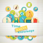 Back to school education vector art icons background. Flat university elements - stock illustration