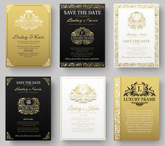 Set of gold luxury flyer pages set with logo ornament illustration concept Stock Illustration