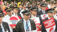 U.S. airline workers protest against Norwegian Air International Airlines. Stock Footage