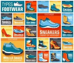 big flat illustration collection set of shoe wear classic, retro, trend, sport - stock illustration