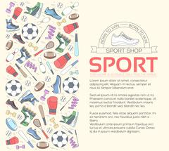 Circular concept of sports equipment background. life style tools with gym - stock illustration