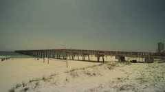 Pan Of The Public Beach At Panama City Beach - stock footage