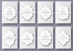 Set of wedding card flyer pages ornament illustration concept. Vintage art - stock illustration