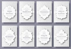 Set of wedding card flyer pages ornament illustration concept. Vintage art Stock Illustration
