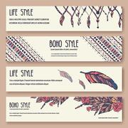 Set of boho ornament illustration style concept. Art traditional, poster, book - stock illustration