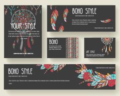Set of boho ornament illustration style concept. Art traditional, poster, book Stock Illustration