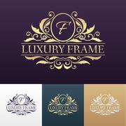 Luxury label or King place symbol element with decorative calligraphy object set - stock illustration