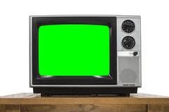 Analog Television on White with Chroma Key Green Screen Stock Photos