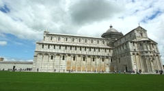 View of historical Cathedral Square of Pisa Stock Footage