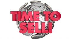 Time to Sell Clocks Sales Make Money Words 3d Animation Stock Footage