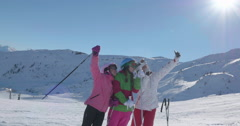 WS 4K: Teens Take a Selfie on Ski Slope Stock Footage