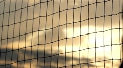 Volleyball Net at Sunset. Close up Shot. Stock Footage