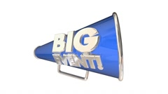 Big Event Party Celebration Bullhorn Megaphone 3d Animation - stock footage