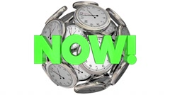 Now Clocks This Moment Time Urgent Word 3d Animation Stock Footage