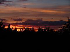 Fiery stripped sunset Stock Photos