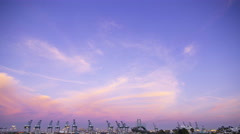 Time Lapse of Colorful Sunset Afterglow at Port of LA at Twilight -Tilt Down- - stock footage