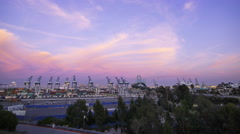 Time Lapse of Colorful Sunset Afterglow at Port of LA at Twilight -Tilt Up- Stock Footage