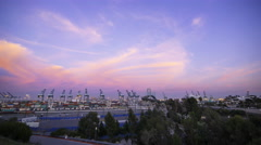 Time Lapse of Colorful Sunset Afterglow at Port of LA at Twilight -Zoom In- Stock Footage