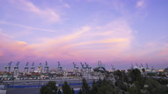 Time Lapse of Colorful Sunset Afterglow at Port of LA at Twilight -Zoom Out- Stock Footage