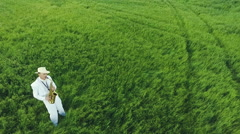 Saxophonist stands in the middle of green fields. Aerial photography. Stock Footage