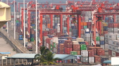 Container port, Colombo, Sri Lanka Stock Footage