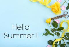 Summertime background with decorated borders. Stock Photos