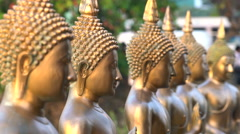 Buddha statues at Seema Malaka Temple on Beira Lake, Colombo Stock Footage