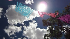 Papel Picado Decorative Colorful Flags Blow in the Wind Stock Footage