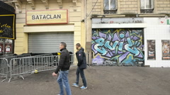 People walking near Bataclan Stock Footage
