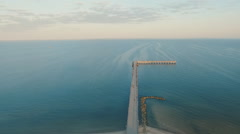 Palanga - Pier in the Sea at Sunrise - Aerial Shot - Down Stock Footage