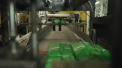 Rice packaging production line conveyer belt Stock Footage