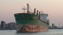 FREIGHTER ON DETROIT RIVER - stock footage