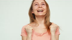 Surprise and joy. Portrait cheerful girl 19 years teenager laughing at camera Stock Footage