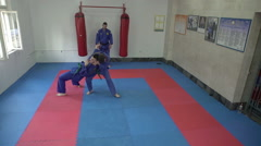 Two young athletes performing real aikido techniques by Pakito. Stock Footage