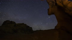 3axis MoCo Astro Time Lapse of Milky Way over Arch Rock in Valley of Fire SP Stock Footage
