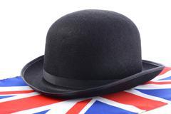 Bowler Hat and English Flag. Stock Photos