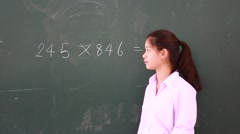 Portrait of thai student High School beautiful girl relax and playing in school - stock footage