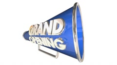 Grand Opening Celebration Event Bullhorn Megaphone 3d Illustration - stock footage