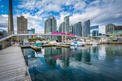 Marina and modern buildings at the Harbourfront, in Toronto, Ontario. Stock Photos