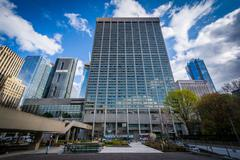 Modern buildings at Nathan Phillips Square, in Toronto, Ontario. Stock Photos