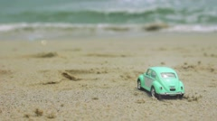 Mint color retro car at the beach Stock Footage