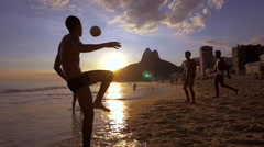 Locals Playing Ball at Ipanema Beach, Rio de Janeiro, Brazil - Slow Motion - stock footage