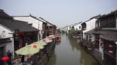 Shantang street and canal, landmark of Suzhou Stock Footage