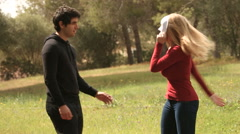 Young man helping woman with mask for psychology concepts Stock Footage