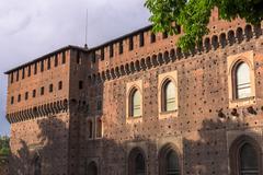 Outer wall Sforza castle Stock Photos