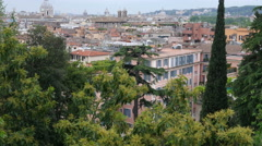 Beautiful view of Rome Italy from a hill - Architectural panorama Stock Footage